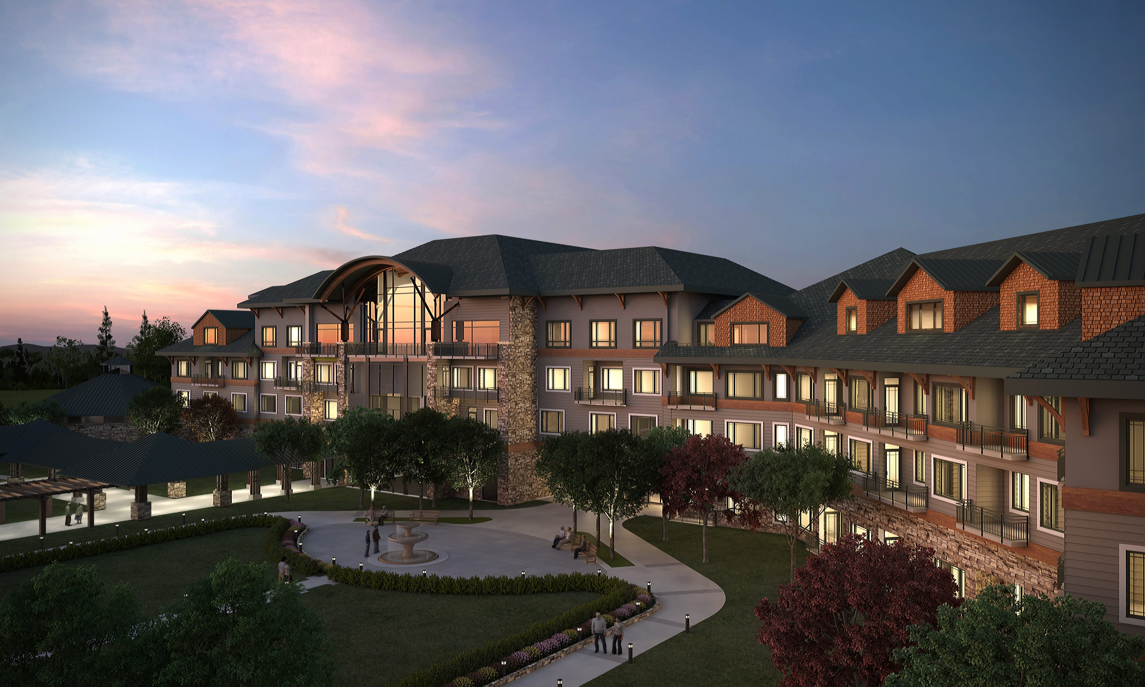 Legacy at Mills River - Manor Home - Exterior - Dusk